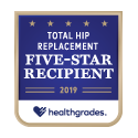 Award logo for Five-Star Recipient for Total Hip Replacement